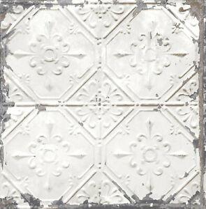 Wallpaper-White-Gray-Bronze-Metallic-Distressed-Faux-Tin-Ceiling-Tiles-SMOOTH