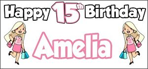 Glamour-Girl-15th-Birthday-Banner-x2-Party-Decorations-Personalised-ANY-NAME