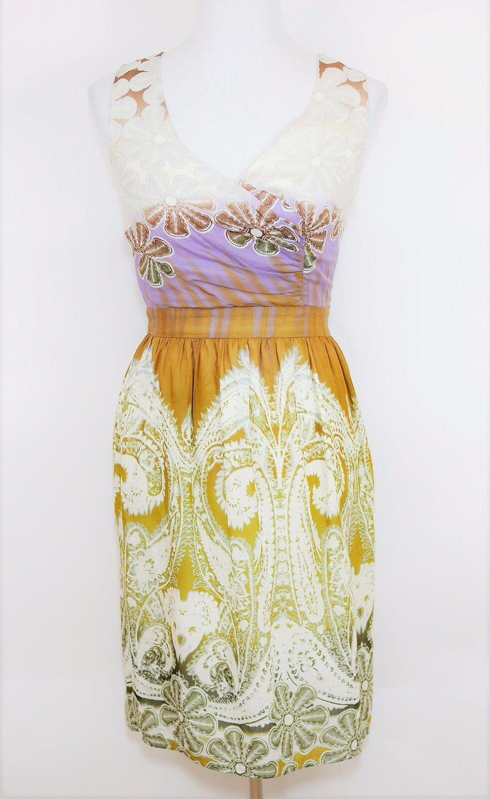 New BURLAPP Women's S - WHITE PURPLE BROWN FLORAL SLEEVELESS DRESS Knee Length