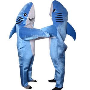 tier blau hai maskottchen kost m erwachsene party karneval overall fasching neu ebay. Black Bedroom Furniture Sets. Home Design Ideas