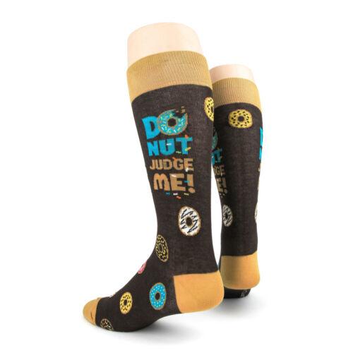 Foot Traffic Men/'s Pair Socks Brown Donuts dont judge me  Mens Socks New