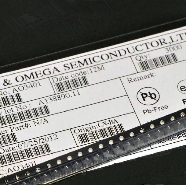 50PCS AO3401 SOT-23 P-Channel MOSFET TRANSISTORS