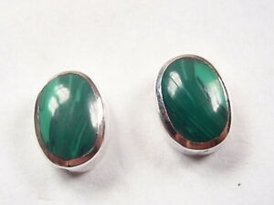 Very-Small-Malachite-Oval-925-Sterling-Silver-Stud-Earrings