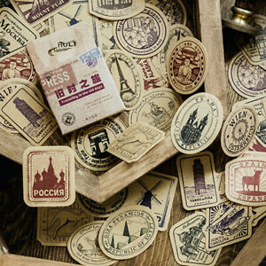 46x-box-Vintage-Travel-DIY-Diary-Stickers-Paper-Lables-Gifts-Packaging-Deco-QN