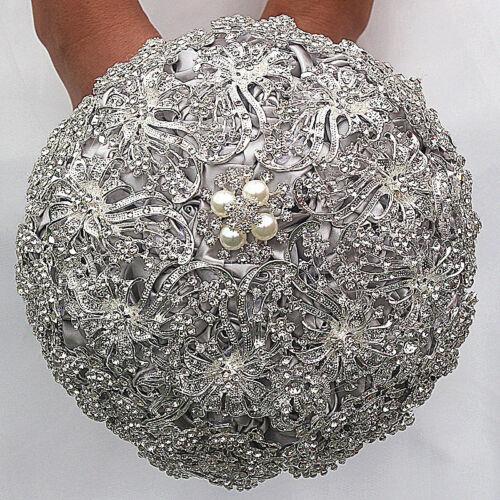 Luxury Silver Rhinestone Crystal pearl Brooch Bride Wedding Bouquet Decor 18cm