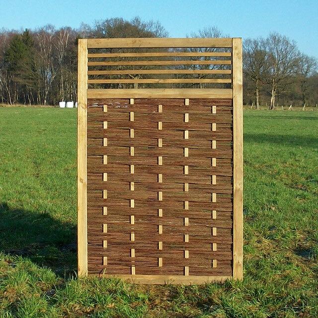 Projoección visual valla-weidenzaun flechtzaun 'Big Fence' como projoección visual y windsc