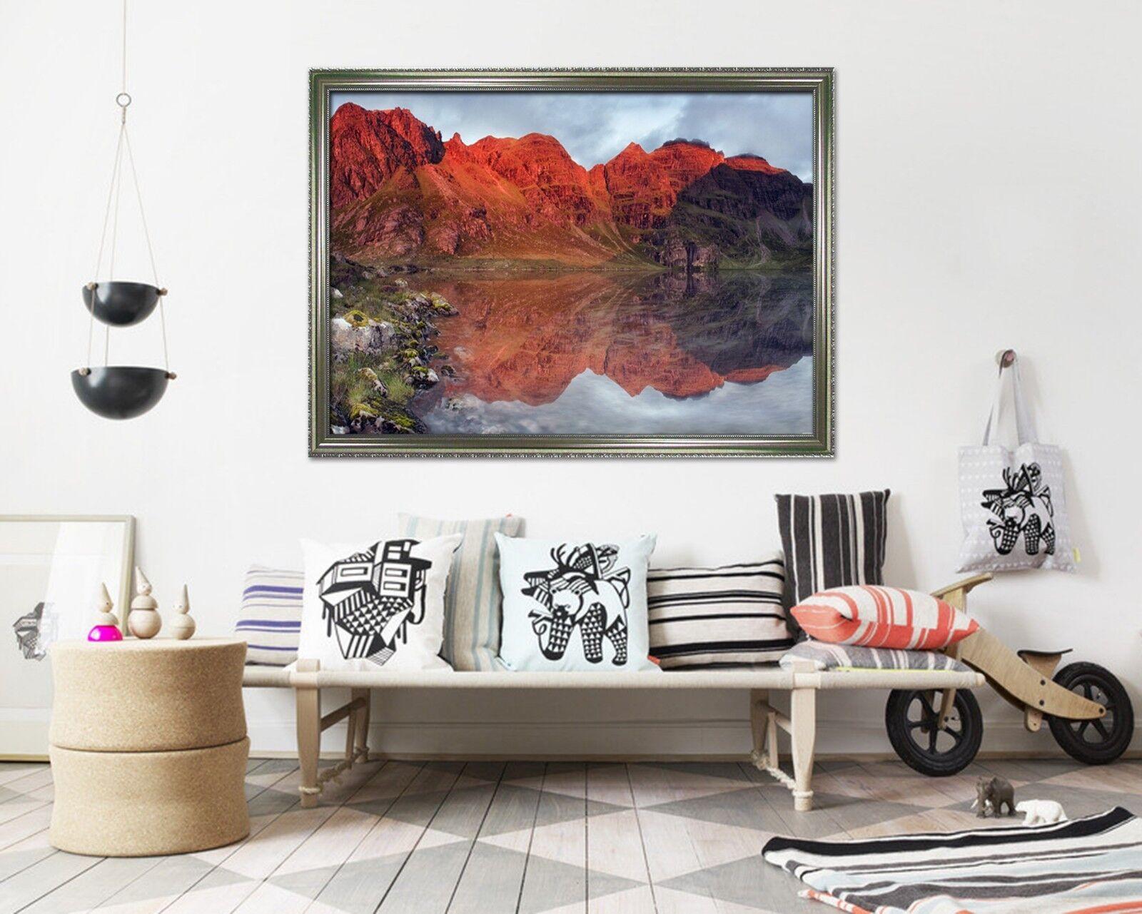 3D Rojo Lago De Montaña 2 Póster Enmarcado Decoración del Hogar Pintura de Impresión Arte AJ Wallpaper