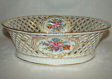 Stunning Antique SP Dresden GERMANY Carl Thieme Reticulated Staple Repaired Bowl