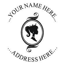 New Custom Address Round Self Inking Rubber Stamp With Pretty Princess Design