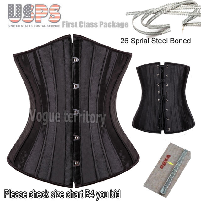 Full Spiral Steel Boned Underbust Ladies White Waist Training Lace up corset Top