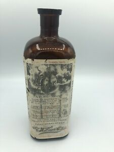 """Antique WRIGHT'S Condensed Smoke Bottle w/Paper Label 9.5"""" Amber Glass"""