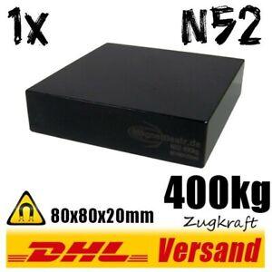 Schwarzer-Neodym-Magnet-80x80x20mm-8x8x2cm-400kg-hohe-Zugkraft-N52-Quader-Block