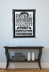 Football Sports Subway Art Vinyl Decal Wall Sticker Words Lettering Teen Room