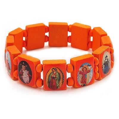 Jesus Bracelet All Saints Bracelet Stretch Orange Wooden Saints Bracelet U