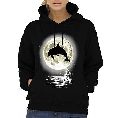 Velocitee Ladies Vest Dolphin Moon A00006