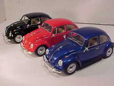 3 Pack of 1967 VW Bug Volkswagen Beetle Die-cast Car 1:24 Kinsmart 6 inch Solid