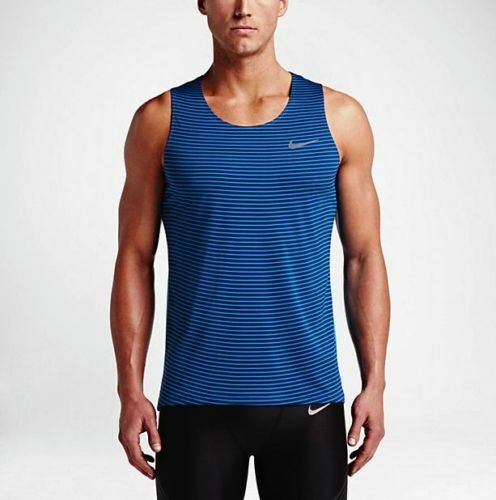 f61cd3542cf4a0 Nike Dry Blue Striped Racing Singlet Running Tank Top 2x Men DriFit  FREESHIP for sale online