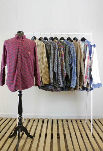 JOB LOT 10 X VINTAGE LONG SLEEVES PLAID// CHECK SHIRTS