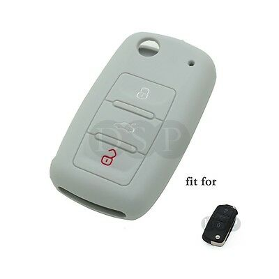 Silicone Cover fit for VW VOLKSWAGEN Jetta Passat Golf Mk6 Flip Key Fob 3B GY