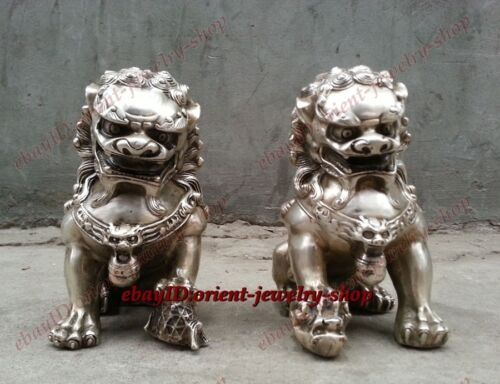 Collection old Tibet silver Door fengshui Guardion Lion Foo Fu Dogs Statues