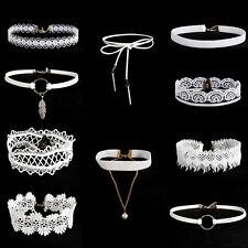 Punk 10pcs White Flower Lace Velvet Choker Necklace Chain Collar Vintage Jewelry