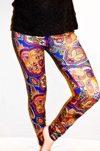 Ladies Paisley patterned leggings in Green and Orange on a Blue background