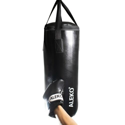ALEKO Complete Youth Boxing Bag Kit with Gloves Black Wraps and Safety Hooks