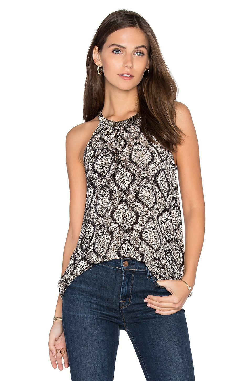 NWT  S, M, L JOIE 'Francis' Embellished Beaded Print Halter Silk Blouse Top
