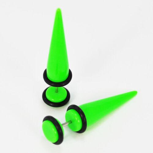 Faux écarteur pour lobe de l/'oreille tige de 1 mm  expandeur VERT diamétre 8 mm