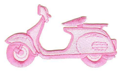 ap65 Roller Pink Moped Aufnäher Bügelbild Applikation Patch Vintage Scooter