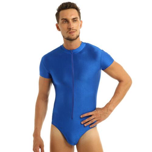Mens Leotard Gym Bodysuit Jumpsuit Ballet Dance Zipper Unitard Wrestling Singlet