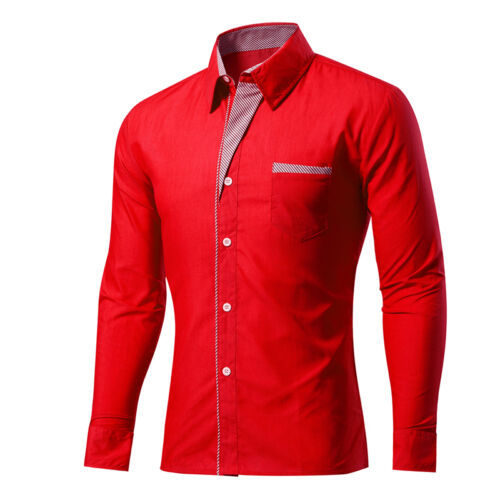 New Men/'s Formal Business Shirts BOYS Slim Long Sleeve Shirts Tops CASUAL