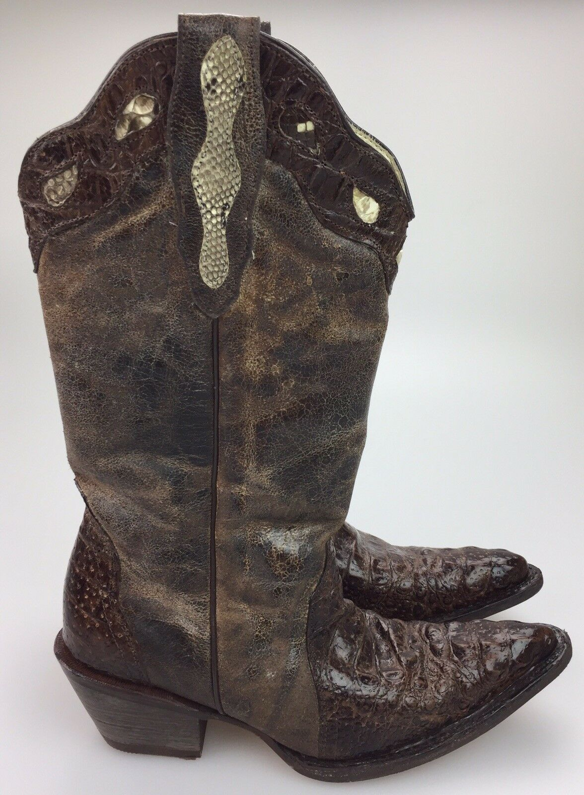 BUITRE Alligator Western Exotic Leather US 28 MEX 25 (Fits Like A femmes's 7)