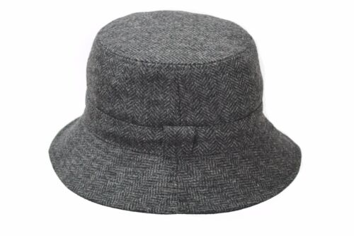 BRAND NEW MEN/'S GREY WOOL TWEED REVERSIBLE OUTDOOR BUCKET HAT BL68