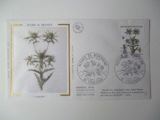 ENVELOPPE 1er JOUR FDC SOIE 1983 FLORE DE FRANCE CARLINE OBLIT PJ TOULOUSE