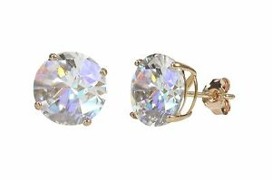 925-Sterling-Silver-Rose-Gold-Plated-Round-Cubic-Zirconia-CZ-Stud-Earrings