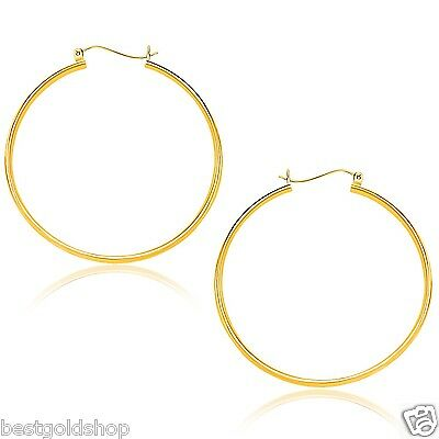 """1.5mmX40mm 1.5"""" Thin Plain Round Tube Hoop Earrings Real 14K Yellow Gold"""