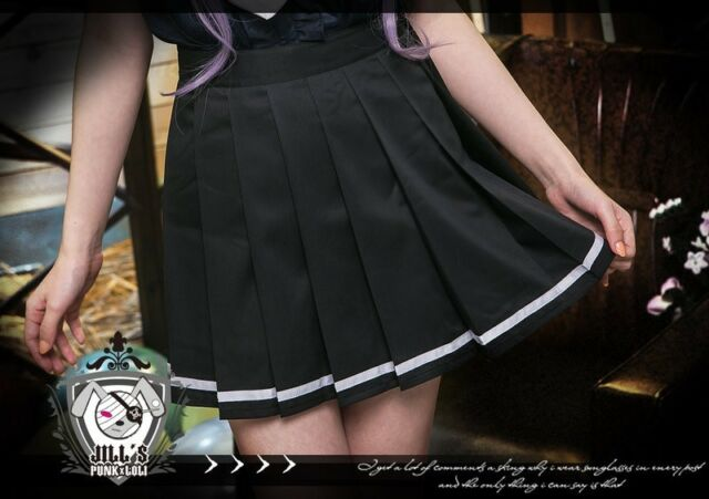 Lolita Punk Kera celebrity Academic Maid pleated skirt uniform Solid black
