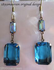 Art Nouveau Art Deco earrings turquoise aqua blue vintage drop long