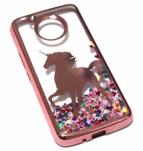 reputable site e794a 92181 Details about For Motorola Moto E4 -Rose Gold Unicorn Glitter Rainbow  Hearts Liquid Case Cover