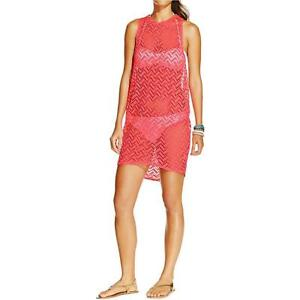 7d46f96b26 Image is loading Coral-LARGE-Miken-CROCHET-RACERBACK-TUNIC-Junior-Swimsuit-