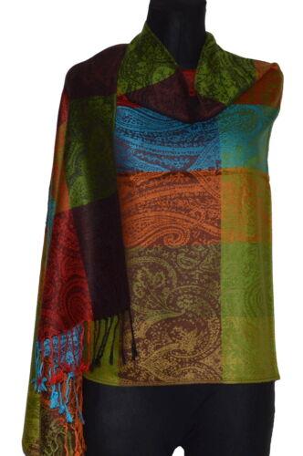 Pashmina Style Schal Tuch Pareo Schleier Dupatta Indisch Stola Paisley Gewebt S2