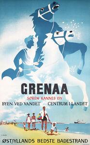 Original-1950s-Danish-Beach-Travel-Poster-Plakat-GRENAA-Lot-372