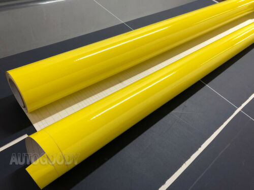 "60/"" x 60/"" Super Gloss Yellow Vinyl Film Wrap Sticker Air Bubble Free 5ft x 5ft"