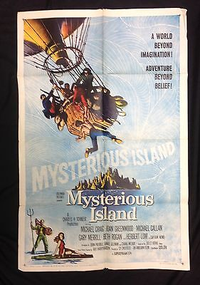 "Original 1961 ""Mysterious Island"" one sheet movie poster Ray harryhausen 27 x 41"