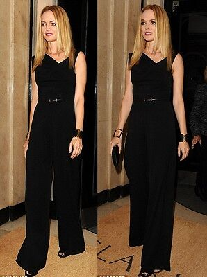 BLACK HALO  Womens Classic Jackie O Belted Stylish Jumpsuit Long Romper New
