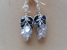 Sterling Silver Moonstone & Black Onyx Bunch Drop Dangle Earrings (11E9) (NEW)