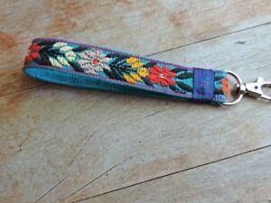 535e80224add Details about FLORAL KEYCHAIN ID TAG HOLDER Boho keychain, Wristlet Key Fob