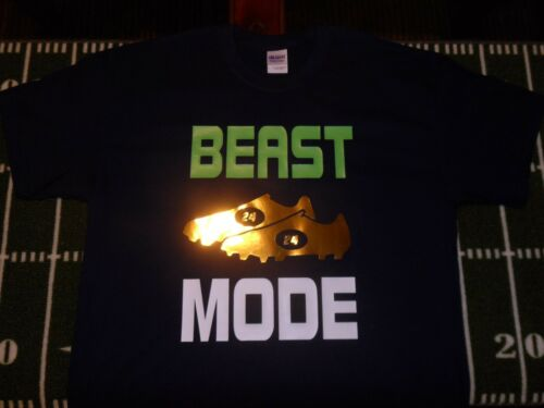 Rare Beast Mode  Marshawn Lynch Banned Gold Cleats  T-shirt  Seattle Seahawks