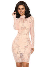 "HOUSE OF CB 'Gialla' Peach Mesh and Lace Long Sleeved Dress ""Faults."" MM 426"
